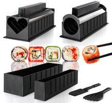 (10 unids/set) Kits de BRICOLAJE Molde Sushi Set Fabricante de Moldes De Plástico Para El Arroz Cocina Accesorios Herramientas Bento