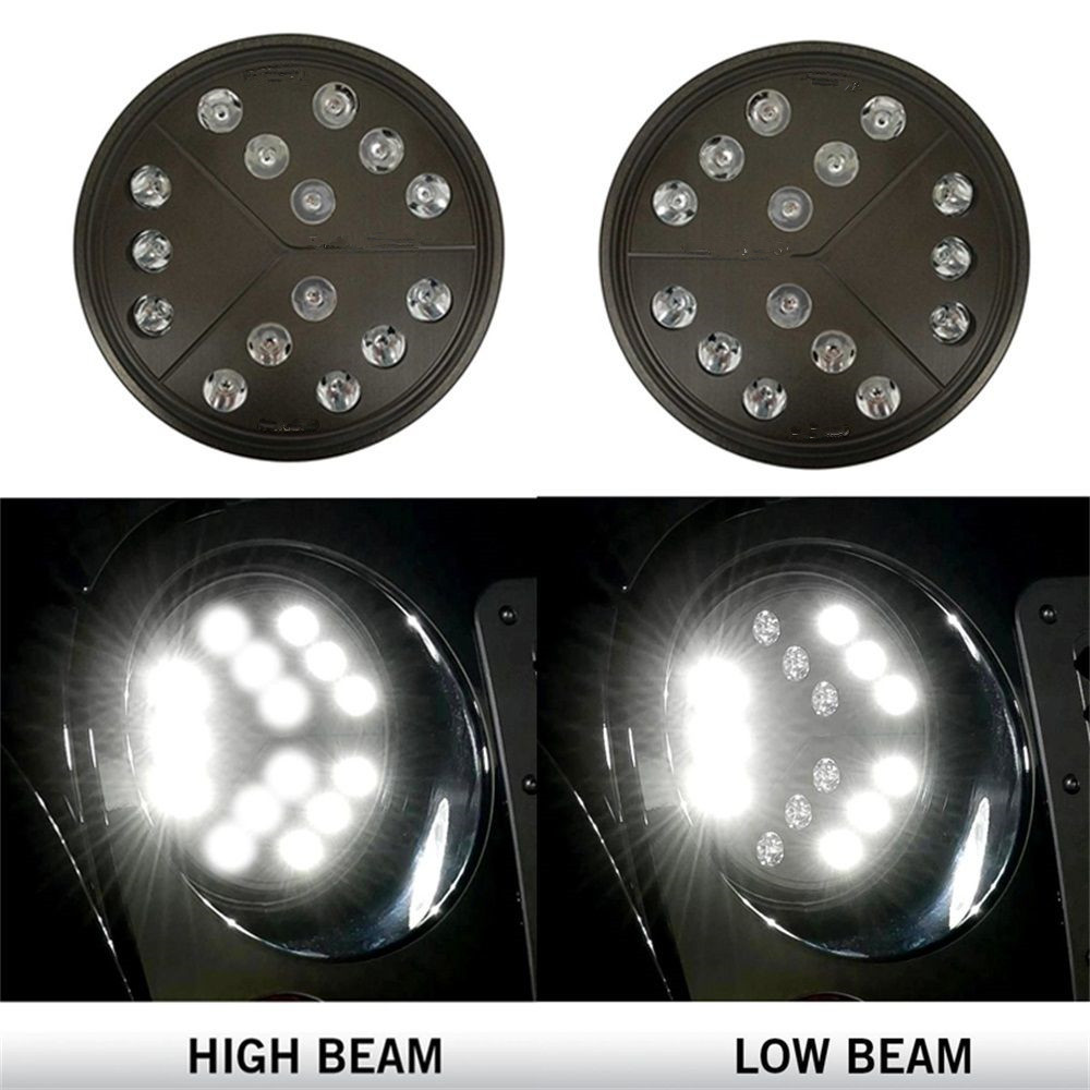 Pair 7 Inch Round Arrow Style Led Headlights With Hi/lo Beam For Jeep Wrangler JKU Jk Tj CJ TJ  H4-H13 Adapter vosicky 7 inch led headlights for jeep wrangler daymaker with hi lo beam amber drl for tj lj jk cj 5 cj 7 cj 8 scrambler