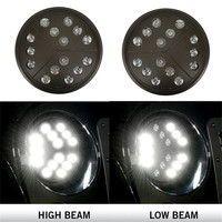 Pair 7 Inch Round Arrow Style Led Headlights With Hi Lo Beam For Jeep Wrangler JKU