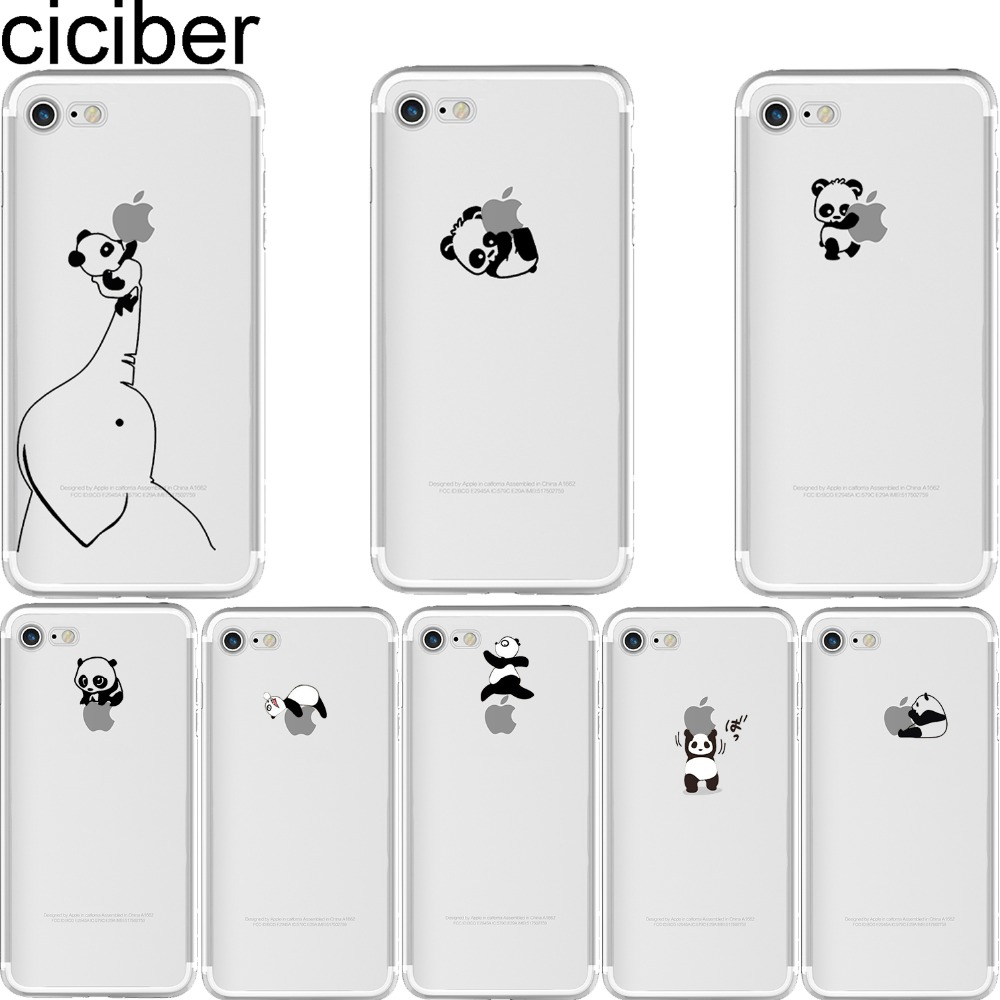 Galleria fotografica ciciber Phone cases Animal Interesting Pandas Pattern soft silicon case cover For iPhone 6 6S 7 8 plus 5 5S SE X Capinha Coque