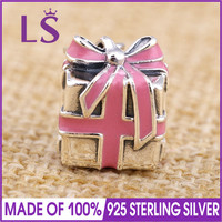 LS High Quality 100 Real 925 Silver Pink Ribbon Present Charm Beads Fit Original Bracelets Pulseira