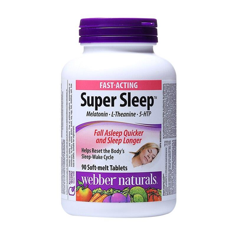 Webber Naturals Super Sleep Melatonin L-Theanine 5-HTP Fall Asleep Quicker and Sleep Longer 90 soft-melt tablets