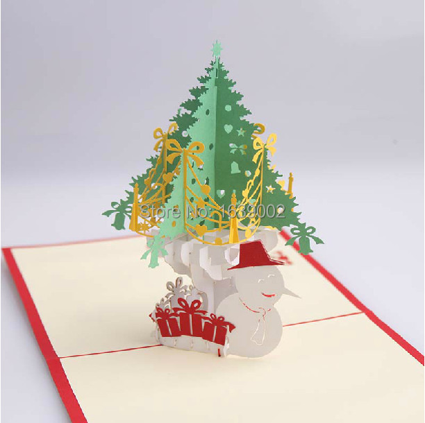 2017 3d handmade christmas cards print wholesale 50pcs lot free