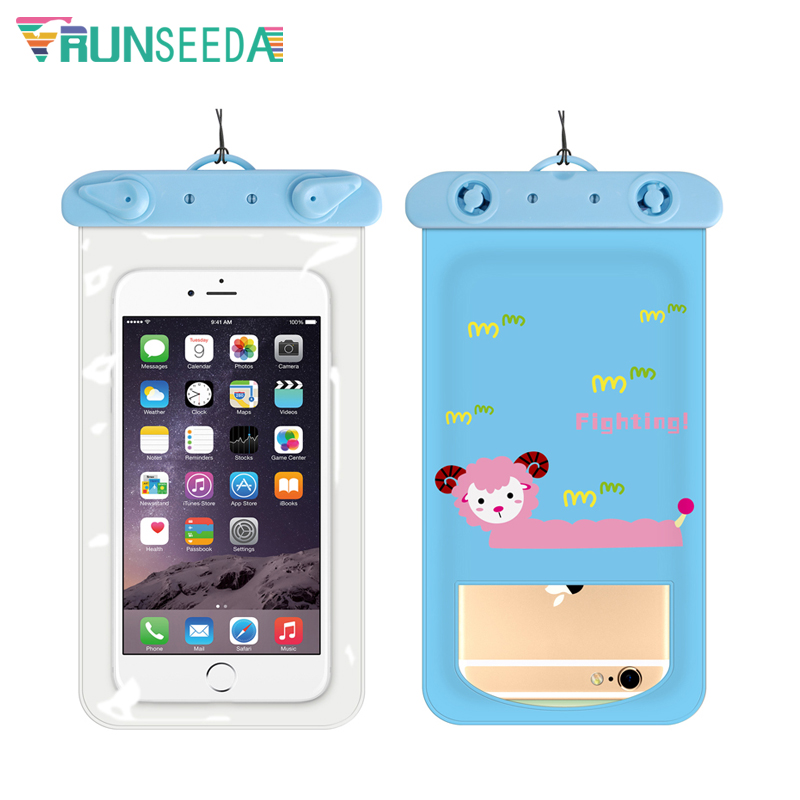 Runseeda 6 Inch Cartoon Swimming Bag Cute Waterproof Mobile Phone Carry Case New Sealed Pouch For Iphone Huawei Xiaomi Cellphone 5