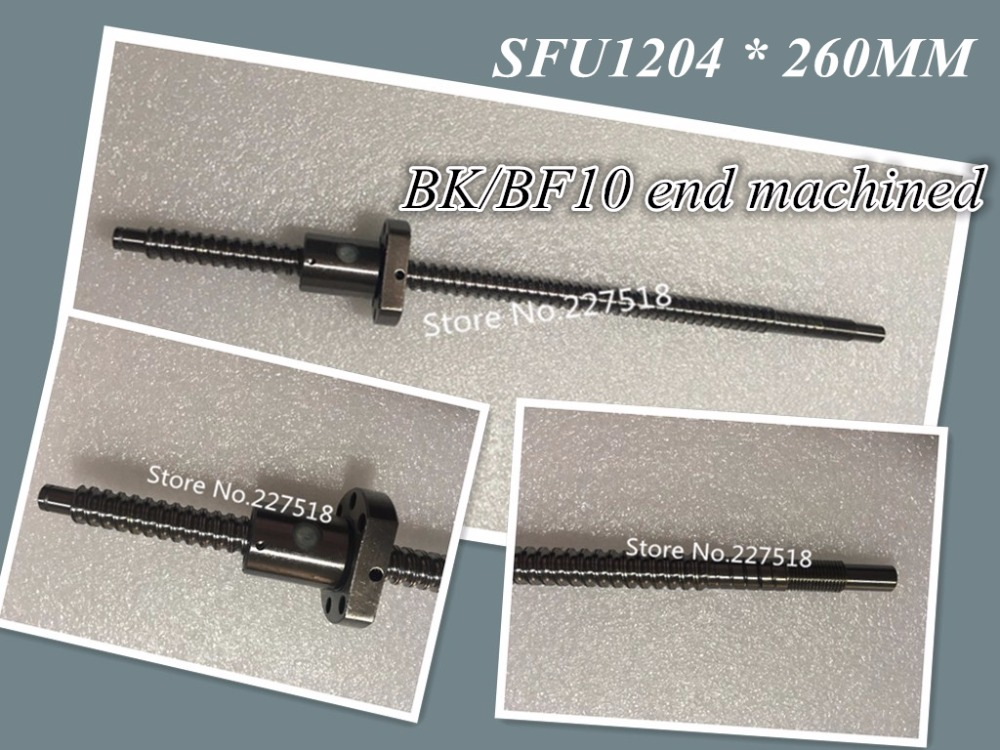 1 pc 12mm Ball Screw Rolled C7 ballscrew SFU1204 260mm plus 1 pc RM1204 flange single nut CNC parts BK/BF10 end machined 260 1 12 50271