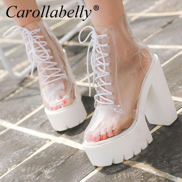 Haute Femmes Automne forme Lacent Talons Plate Des Cheville Bottes Épais Transparent Chaussures qwIfvXX