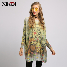 Oversized Sweater Fashion Batwing Sleeve Print Slash Neck Women's Sweaters Pullovers Bear Print Computer Knitted Women Sweater