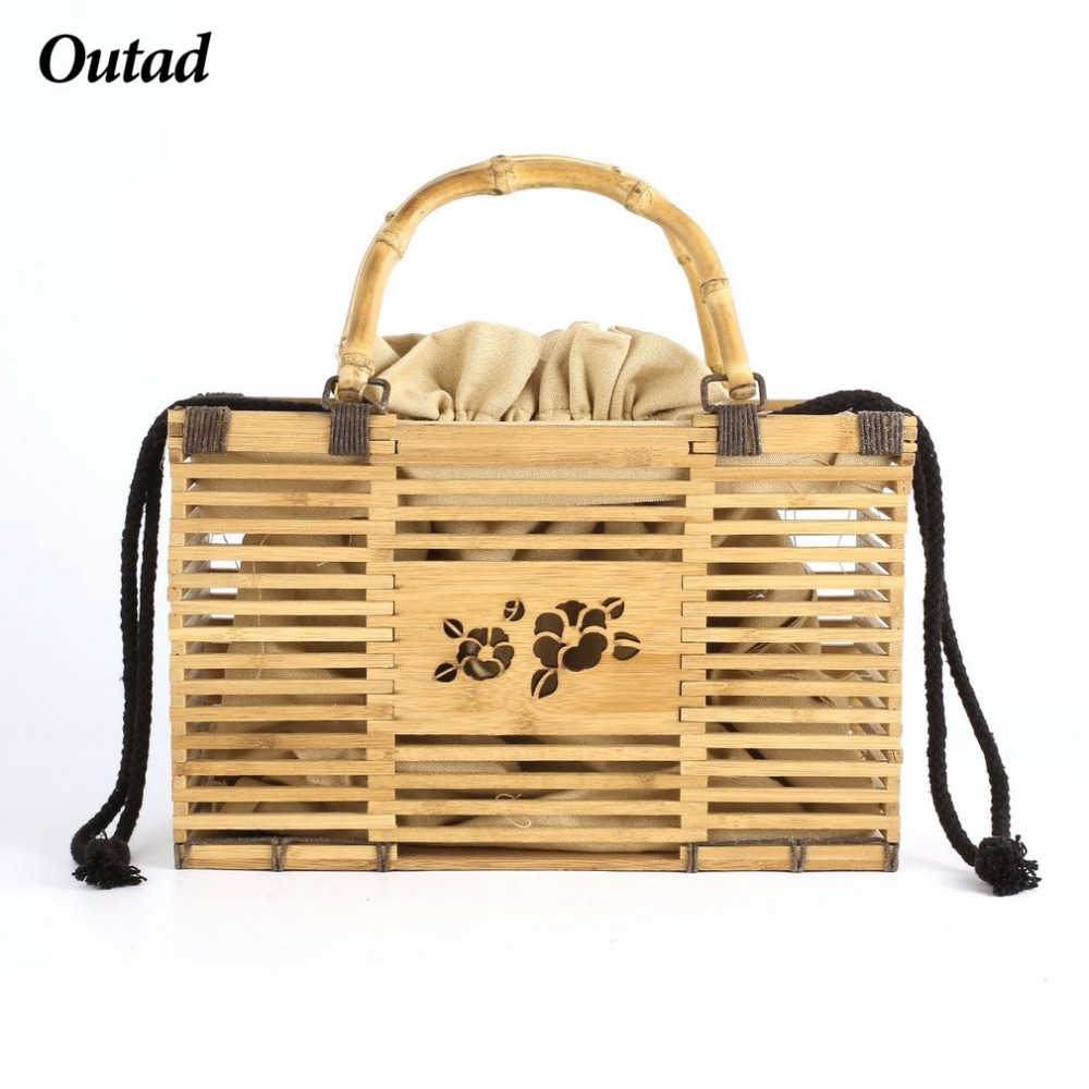OUTAD Women Beach Bag Square Bags Fashion Top Handle Bamboo Hollow Out Handbag Free Shipping