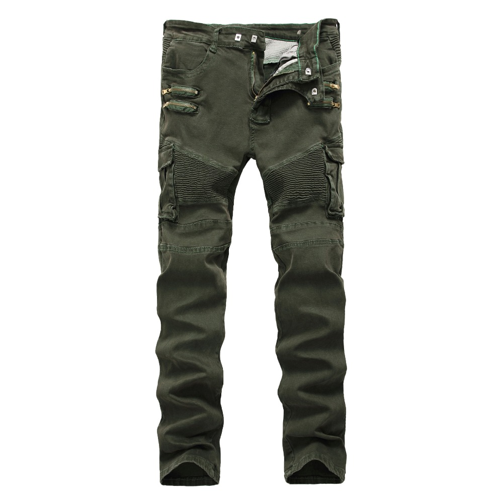 Mens Skinny Ripped Biker Jeans zipper Multi Pockets Cargo Army Green military Hip Hop Men Pleated motorcycle jeans Dropshipping