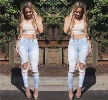 High Waist Holes Slim Jeans Pencil Pants Newest Autumn Ripped Slim Long Denim Pants Fashion Cotton