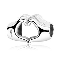 Fit Original Pandora Charm Bracelet Authentic 925 Sterling Silver Hand To Hand Hearts Love Charm Beads