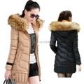Nova 2015 de alta qualidade casaco de inverno quente mulheres da capa da pele cor sólida casaco casacos moda longo fino wadded parka grosso feminino