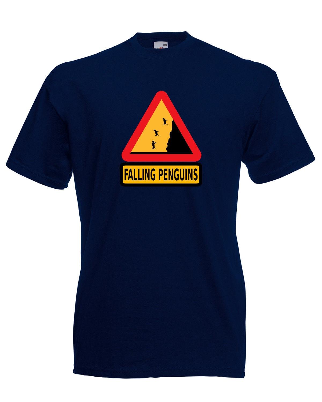 Падение Пингвины Предупреждение графический знак качества футболка мужская унисекс футболка с принтом для мальчиков топ, футболка, рубашк...