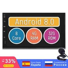 7 «двойной 2Din головное устройство 1,8 ГГц Android 8,0 Octa Core 4 Гб + 32 ГБ автомобиль радио gps RDS/FM/AM 1024X600 Поддержка Камера/SWC/DAB/Система контроля давления в шинах/OBD2