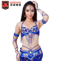 Women Belly Dance Top Bra & Bellydance Belt Oriental Costume Suit Brilliant Bra 34/75C Beaded Belly Dance Belt 2 Pieces Suit