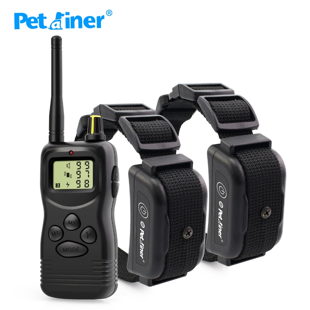 Petrainer 900B-2 1000Meter Rechargeable Waterproof Dog Training Shock Collar For 2 Dogs