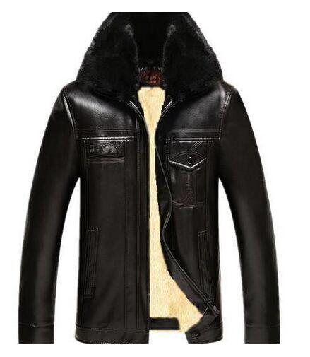 Men's plus thick velvet jacket kepi leather male fur collar leather jacket M-3XL