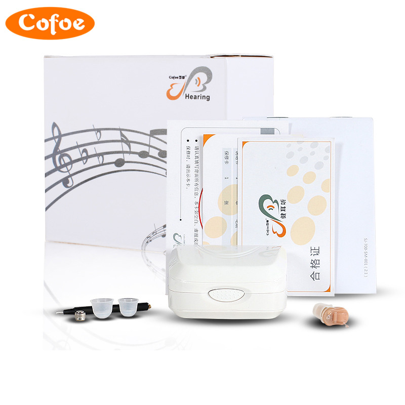 Cofoe invisible Hearing Aid Enhancer Portable small  Mini  inner Ear  Amplifier simple box digital Hearing Aids Left ear portable small hearing aid program device ear care s 10b medical instruments hearing aids for hearing impaired people