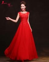 Jark Tozr Vestidos De Festa Scalloped Neck Pearls Appliques Red Chiffon Elegant Formal Evening Party Dresses