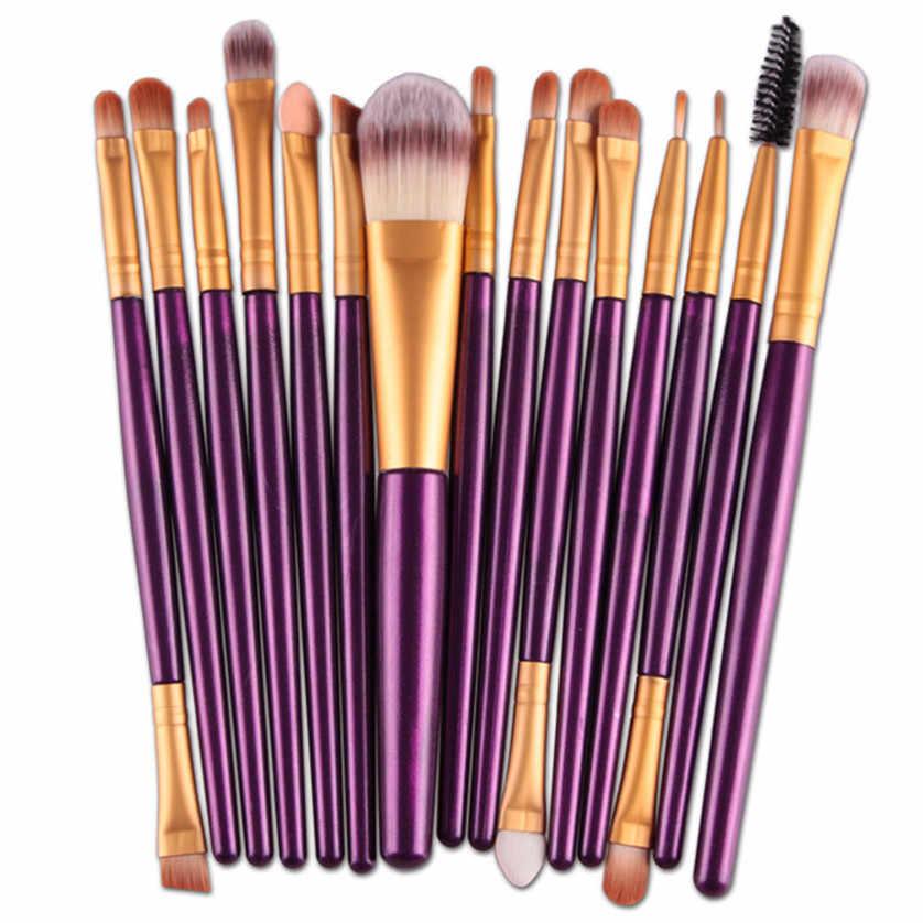 Aliexpress Hot 15 stks/sets Oogschaduw Foundation Wenkbrauw Lip Brush Up Kwasten Tool