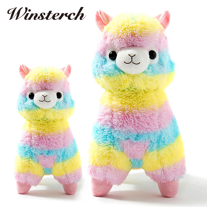 35/50cm Rainbow Alpacasso Soft Plush Stuffed Animals Toys Kawaii Alpaca Lama Pacos Kids Toys Baby Dolls Brinquedos Gifts WW376
