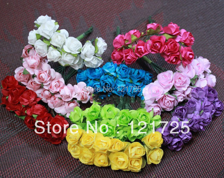 Us 2 25 70 Off Paper Flowers 2016 Christmas Candy Wedding Box Mini Rose Flower Hand Made Small Wedding Bouquet Scrapbooking In Artificial Dried