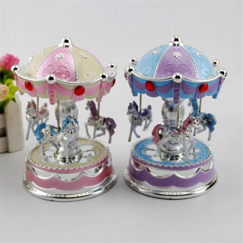 Music Box Baby Swivel Glowing Carousel Horse Electronic Music Box