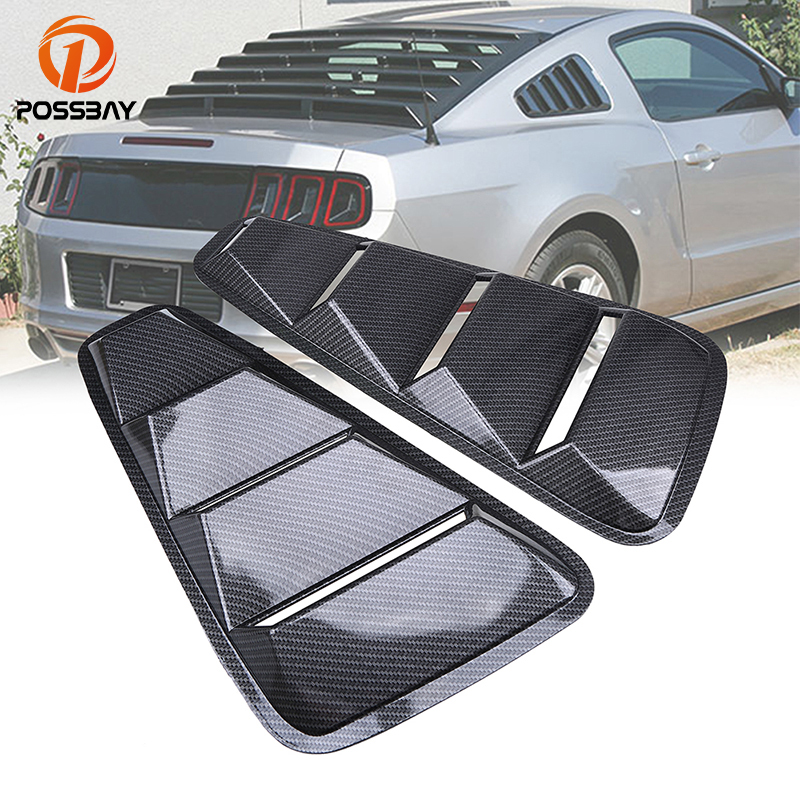 POSSBAY Rear Window Louver Cover for Ford Mustang Coupe 2005 2014 Rear Quarter Side Panel Vent Imitation Carbon Fiber