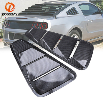 Possbay Belakang Jendela Louver Cover untuk Ford Mustang Coupe 2005-2014 Belakang Quarter Panel Samping Ventilasi Imitasi Serat Karbon