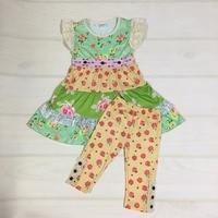 Atacado Baby Girl Boutique Botão de Impressão Capris Conjunto de Roupas Vestido Da Menina Crianças Princesa Algodão Verão Outfits S093