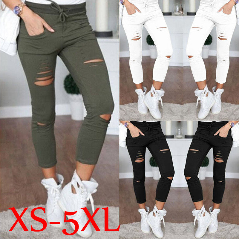solid Hole Pencil Ripped   Pants   sexy Skinny High Waist Nine Points   Pants   Stretch slim Trousers   Capris   for women plus size XS-5XL