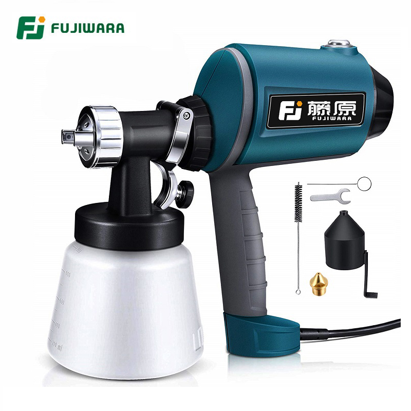FUJIWARA Electric Spray gun 220 240V 50HZ  Airbrush 1.5mm/1.8mm/2.5mm Nozzle High Atomizing Spray Paint Tool-in Spray Guns from Tools on