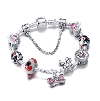 Cute Mickey Mouse Themed Bracelet Bracelets Jewelry New Arrivals Women Jewelry Metal Color: 24 Length: 21cm