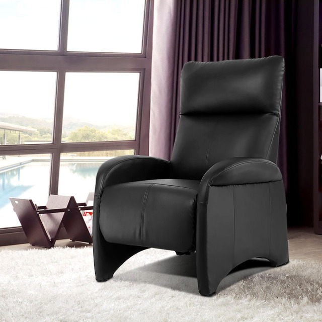 Langria Black Comfort Faux Leather Recliner Sofa Chair With Side