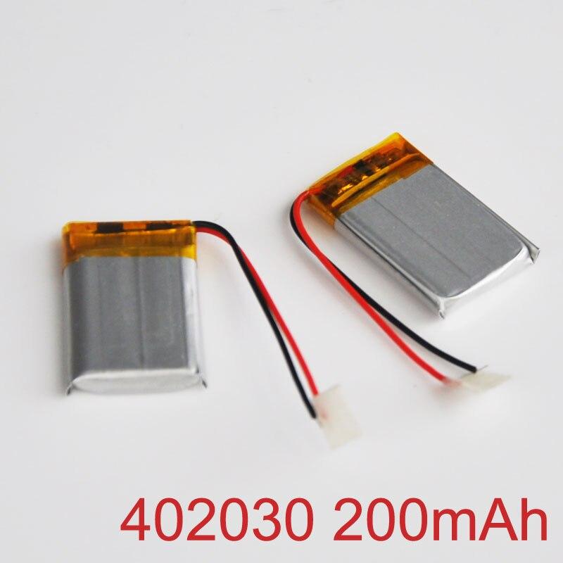 2-10 Uds 3,7 V batería de litio recargable batería de polímero de iones de 200mAh 402030 LIPO de celda de Li-ion para MP3 MP4 jugador dispositivo bluetooth