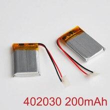 2-10 pcs 3.7 v bateria de polímero de íon de lítio Recarregável 200 mah 402030 LIPO celular li-ion para MP3 MP4 jogador bluetooth dispositivo