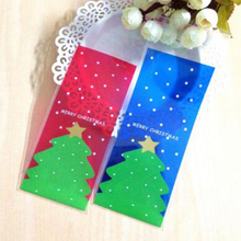 50pcs Christmas tree cookies candy bags  7*16cm baked goods gift