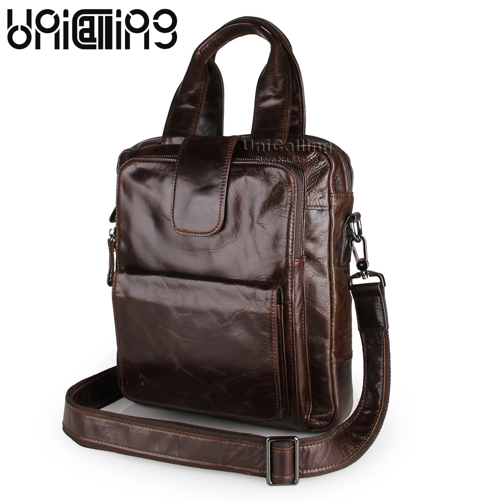 Vintage men leather shoulder bag quality genuine leather men crossbody bag vertical male handbag can hold iPad/A4 Magazine
