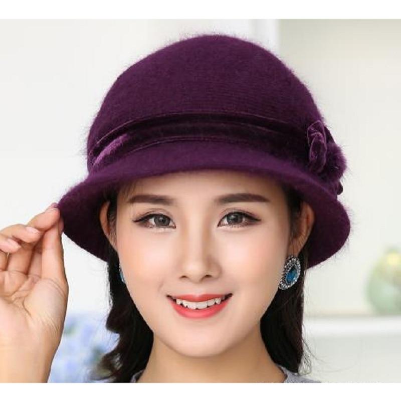 New Fashion Women Winter Hat Set Blommor Skullies Ull Mixed Rabbit - Kläder tillbehör - Foto 2