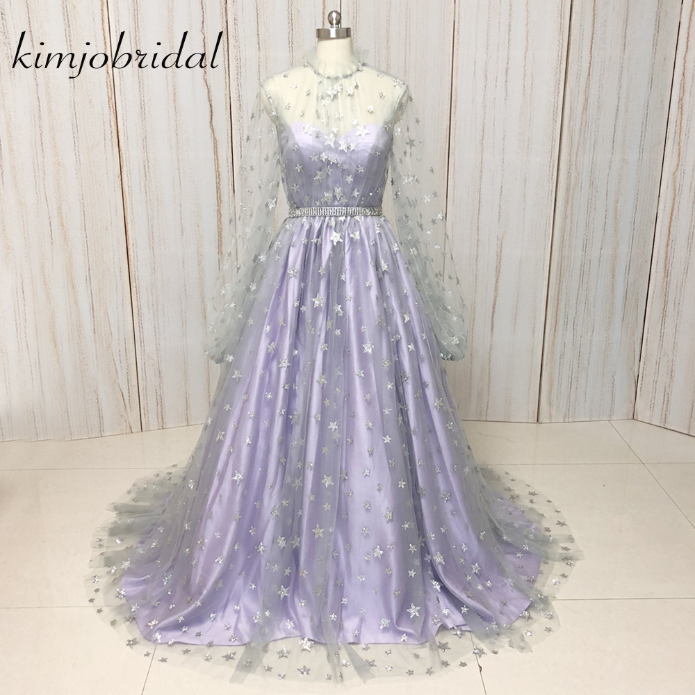 sparkly   prom     dresses   with star sequins long sleeve high neck shinning ball gown evening   dresses   gowns arabic 2018