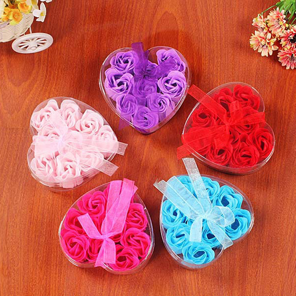 Surprise 9Pcs Heart Scented Bath Body Petal Rose Flower Soap Wedding Decoration Creative Valentine's Day gift n# dropship artificial flower bunch with 9pcs rose