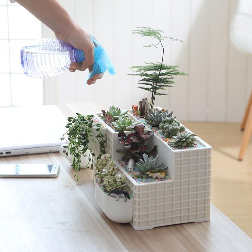 Fashion Plastic Bonsai Fleshy Flower Pot Desktop Potted Plants Creative Flower Pots Combined Multi function Plant Pots