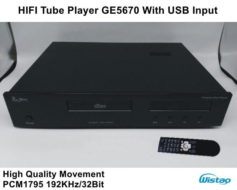 HIFI трубка CD плеер usb вход с 2 шт. GE5670 высокое качество движения 192 кГц/32 бит PCM1795 черный или Withe панель 220 В аудио