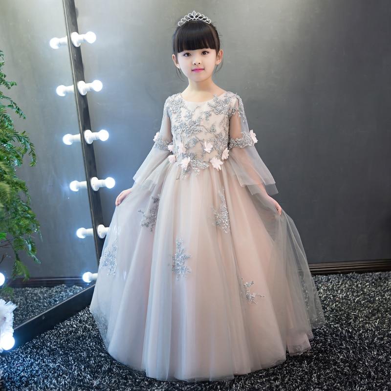 Luxury Embroidery Lace Pierced Sweet Princess Baby Girls Dress Dresses High Quality 2017 Wedding Prom Party Kids Girls Dress P56