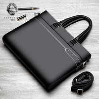 Мужской деловой портфель LAORENTOU, черная сумка для ноутбука из натуральной кожи, с ручками и плечевым ремнем, 2019