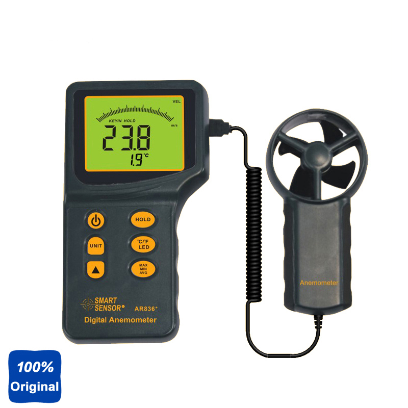 100% Original AR836 Digital Anemometer Handheld Digital Wind Speed Meter 0.3~45m/s free shipping gm8901 45m s 88mph lcd digital hand held wind speed gauge meter measure anemometer thermometer