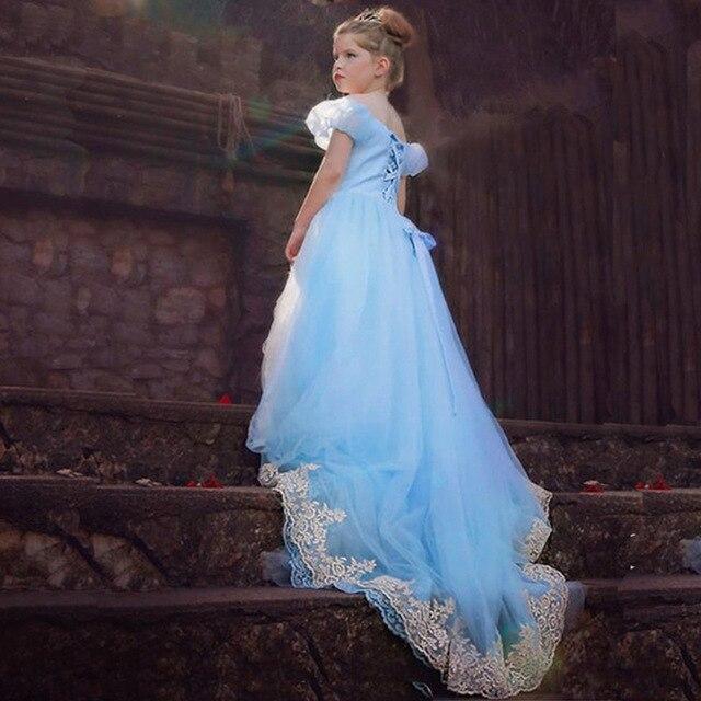 Золушка длинное Платье Девушки костюм макси партия кружевном платье Cenicienta vestidos infantis де феста фантазия де princesa Cinderela