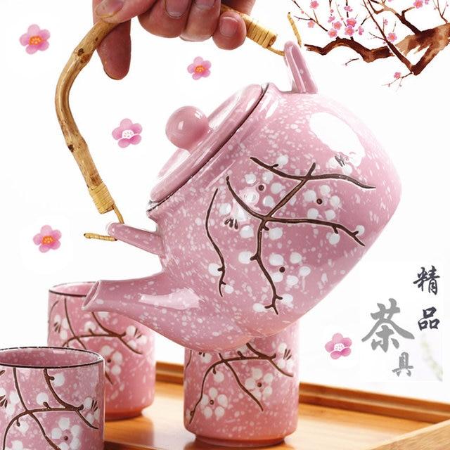 Japanese Cherry Blossom Teapots Handmade Tea Pot Water Kettle Afternoon Tea Kettle Ceramic Teaset|Teapots| |  - title=