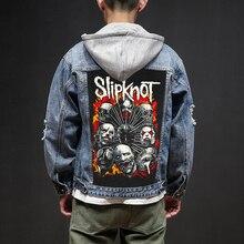 Bloodhoof Negozio Slipknot Rock And Roll Morte Heavy Hardcore Punk di Stile Disegni di Patch Denim Dei Jeans Del mens Giubbotti E Cappotti