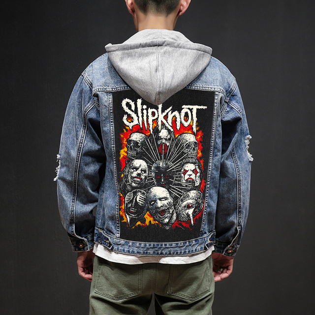 Bloodhoof Store Slipknot Rock And Roll Death Heavy Hardcore Punk Style Patch Designs Denim Jeans mens Jackets And Coats
